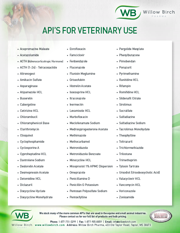 API's for Veterinary Use